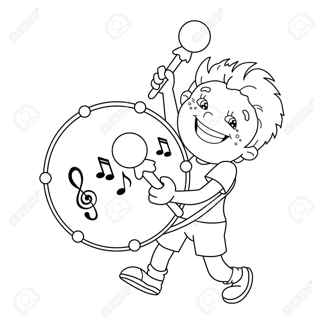 Coloring Page Outline Of Cartoon Boy Playing The Drum. Musical ...