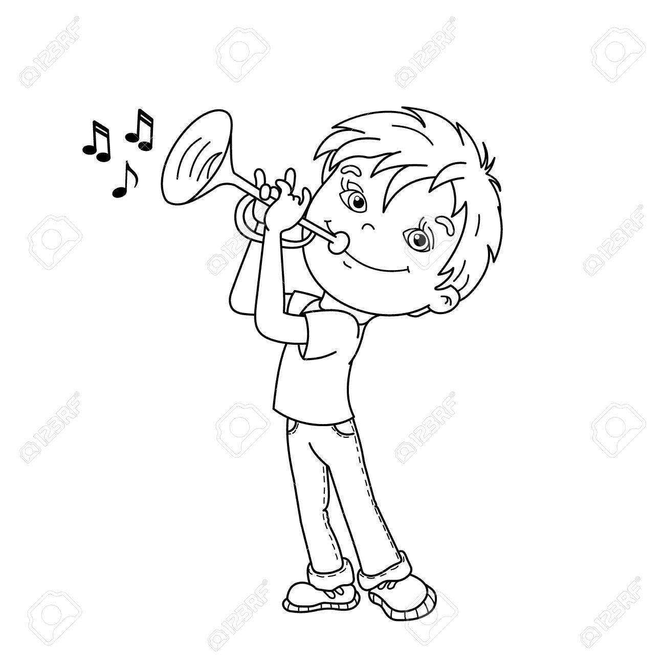 Página Para Colorear Esquema De Niño De Dibujos Animados Tocando La Trompeta Instrumentos Musicales Libro De Colorear Para Niños