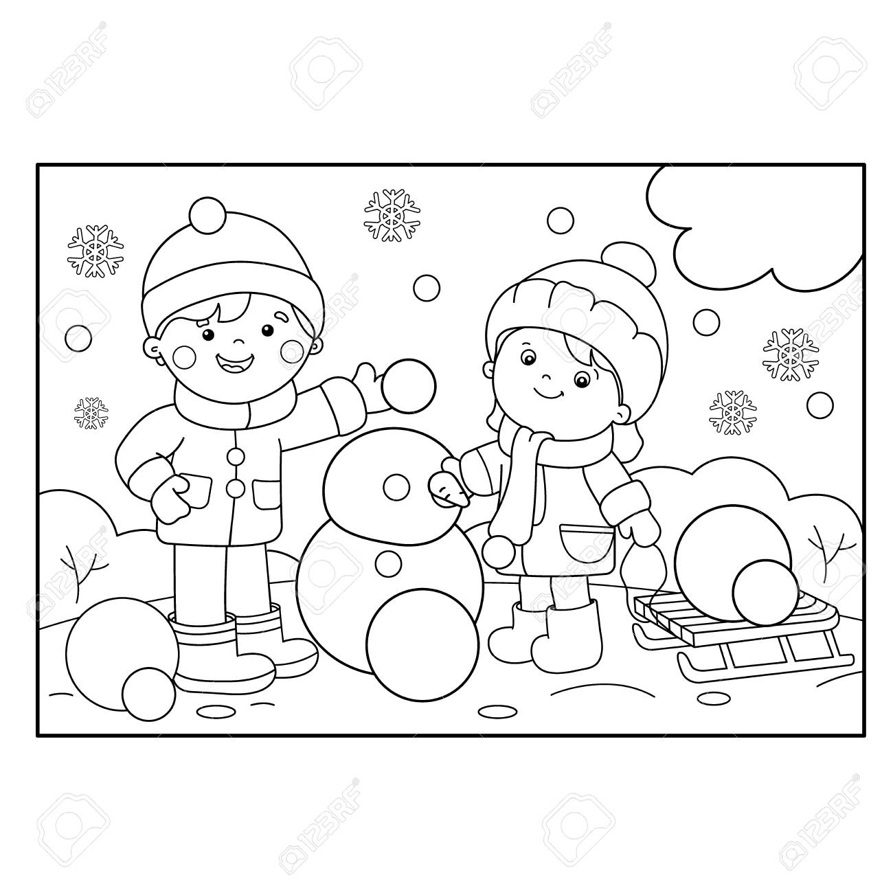 Snowman Preschool Coloring Pages Winter Free #3718 Preschool ... | 1300x1300