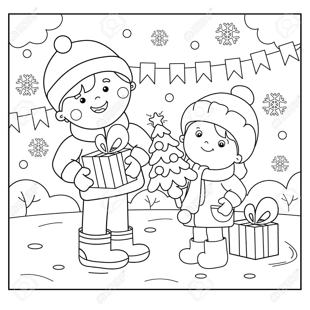 Coloring Page Outline Of Children With Gifts At Christmas Tree New Year