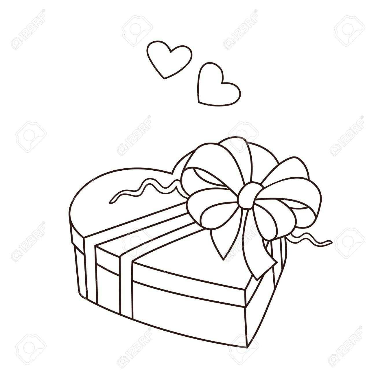 coloring page outline of gift birthday valentine s day coloring