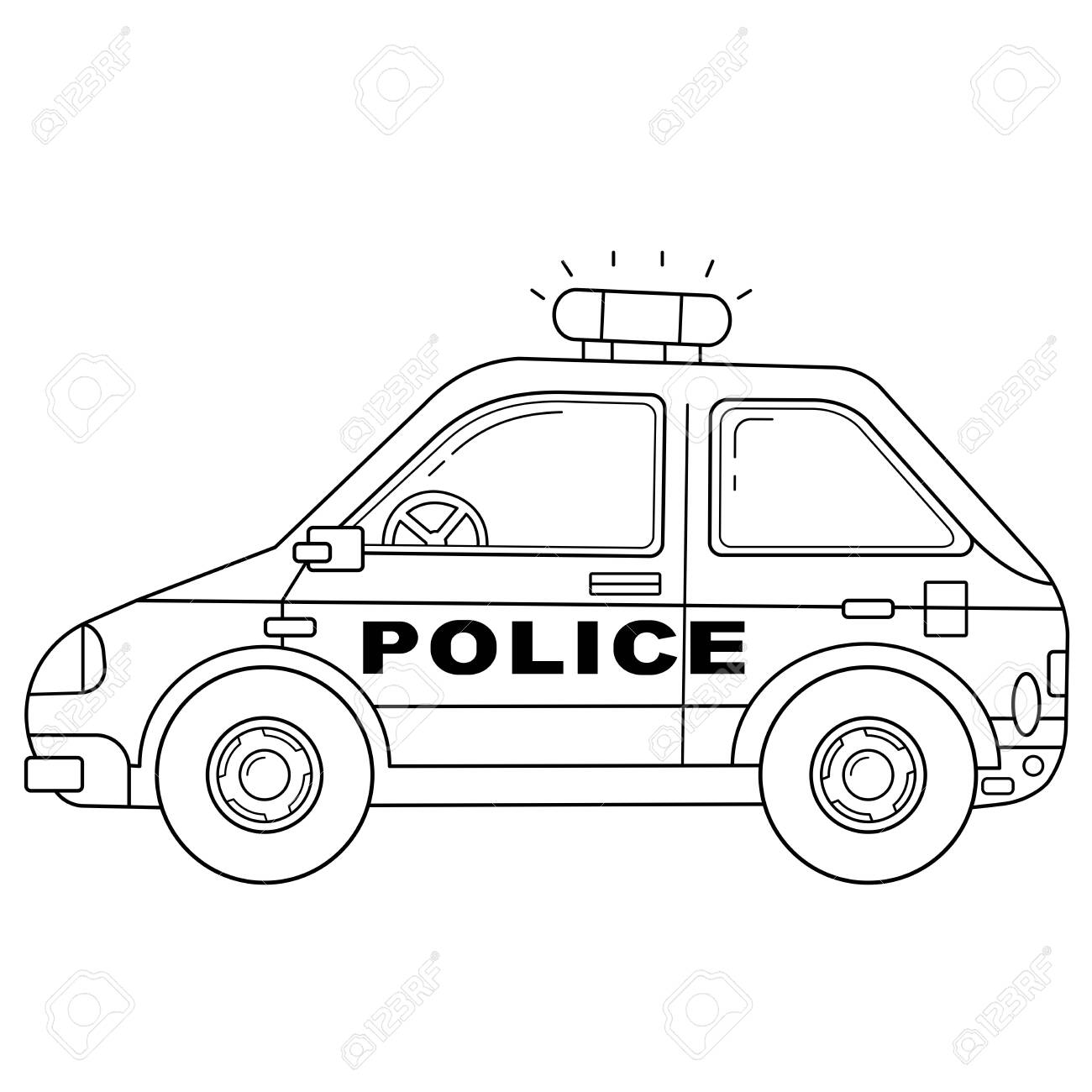 Coloring Page Outline Of Cartoon Police Car Police Images Transport Royalty Free Cliparts Vectors And Stock Illustration Image 133541240