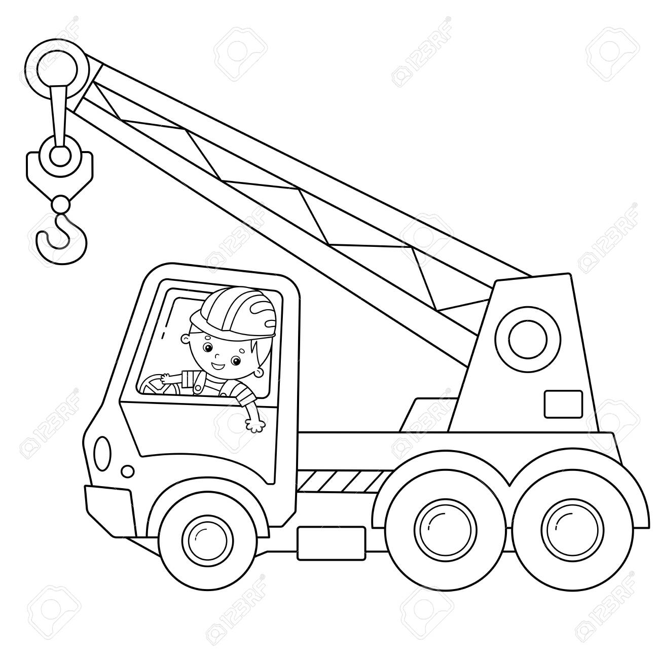 Coloring Page Outline Of Cartoon Truck Crane Construction Vehicles Royalty Free Cliparts Vectors And Stock Illustration Image 133686654