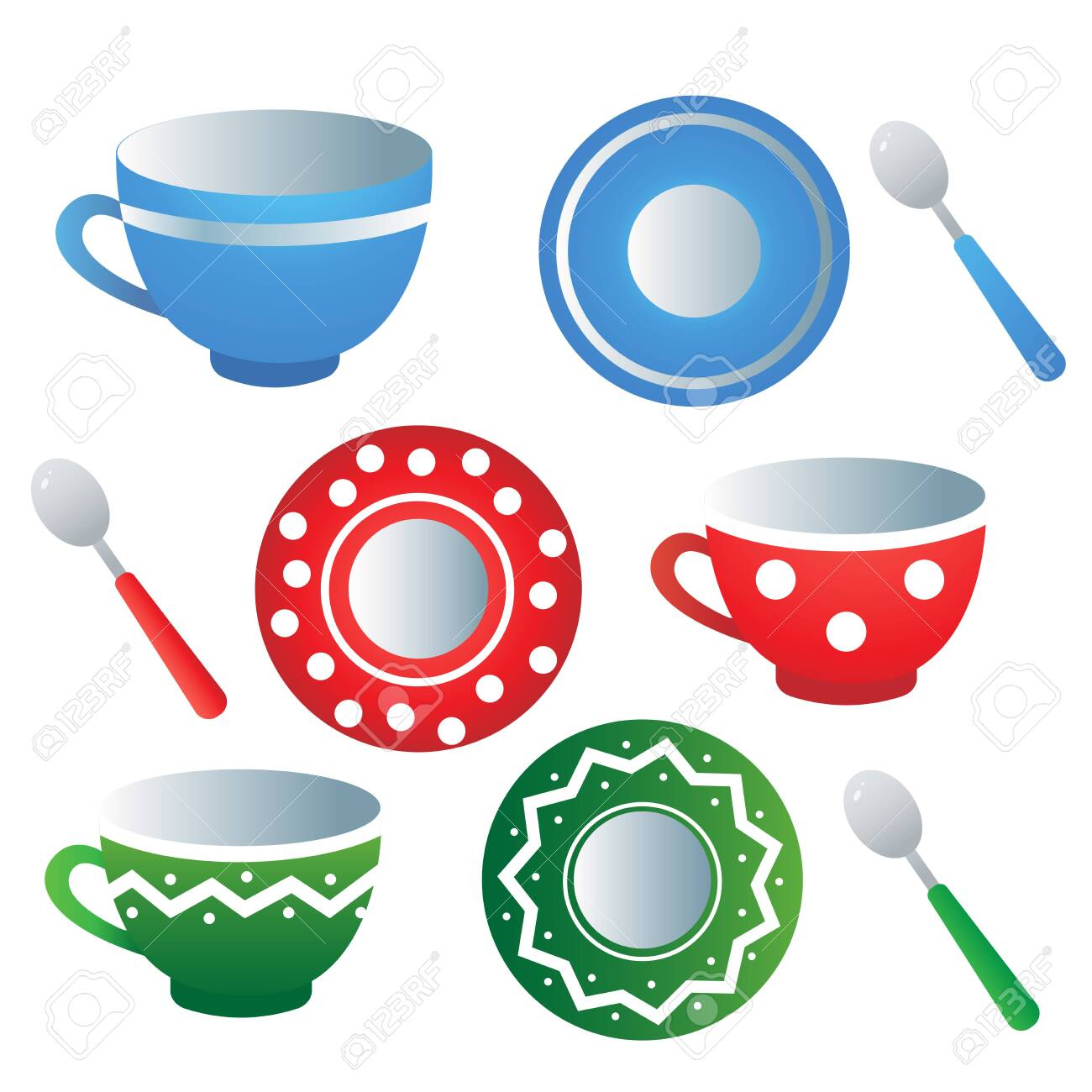 Kitchen tea set. Color images of colorful saucers, spoons and cups on white background. Dishes and crockery. Vector illustration. - 133966538
