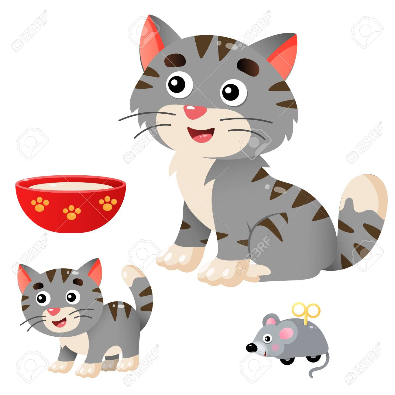 Color Images Of Cartoon Cat With Kitten On White Background Royalty Free Cliparts Vectors And Stock Illustration Image 135088221