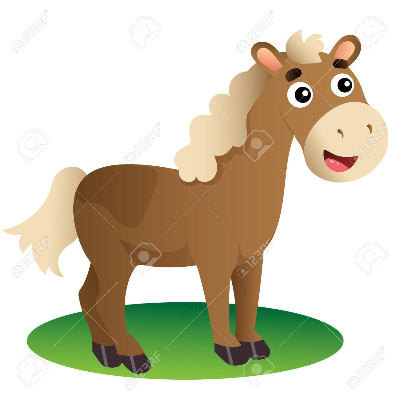 Color Image Of Cartoon Horse On White Background Farm Animals Royalty Free Cliparts Vectors And Stock Illustration Image 135118276