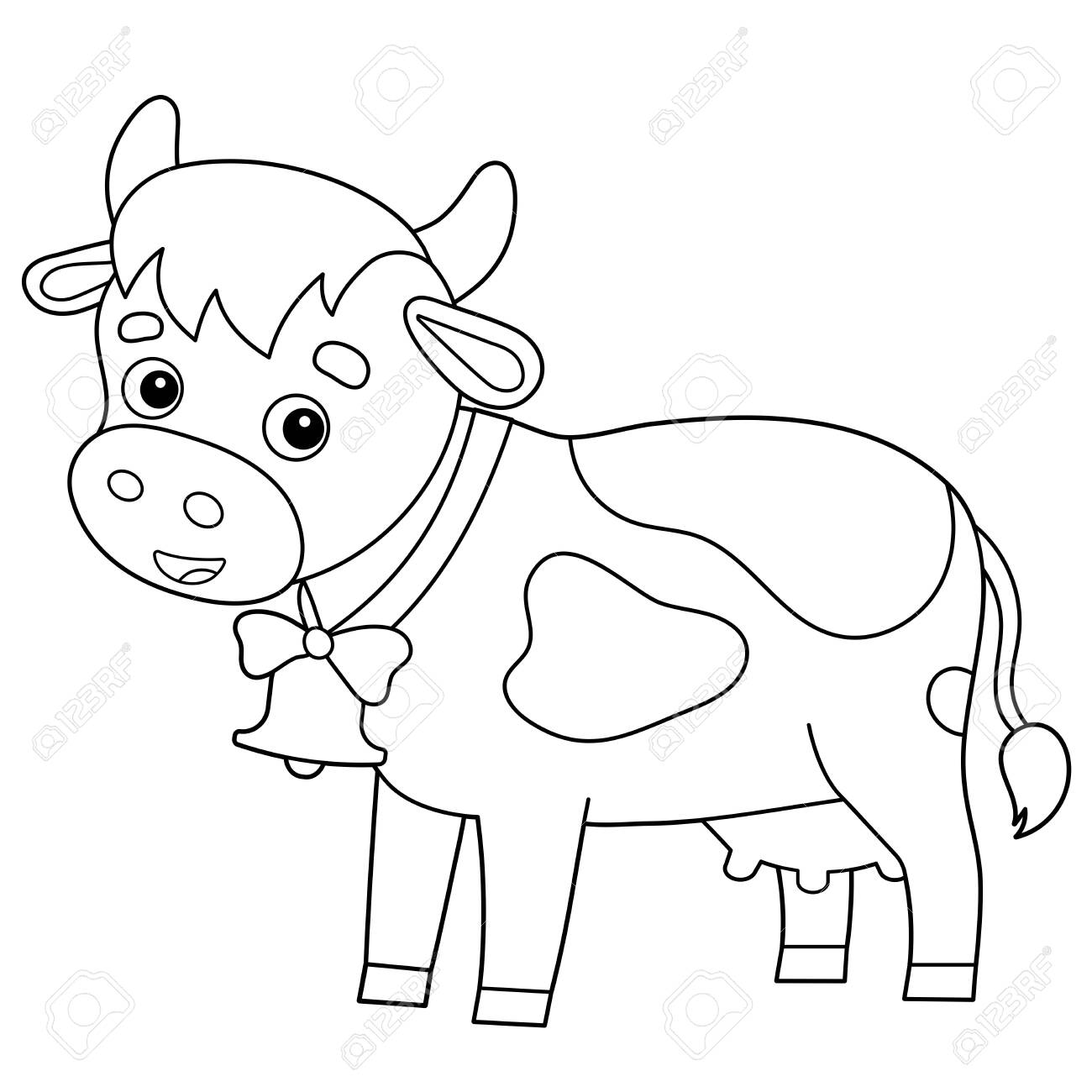 Coloring Page Outline Of Cartoon Cow With Bell Farm Animals Royalty Free Cliparts Vectors And Stock Illustration Image 135270772