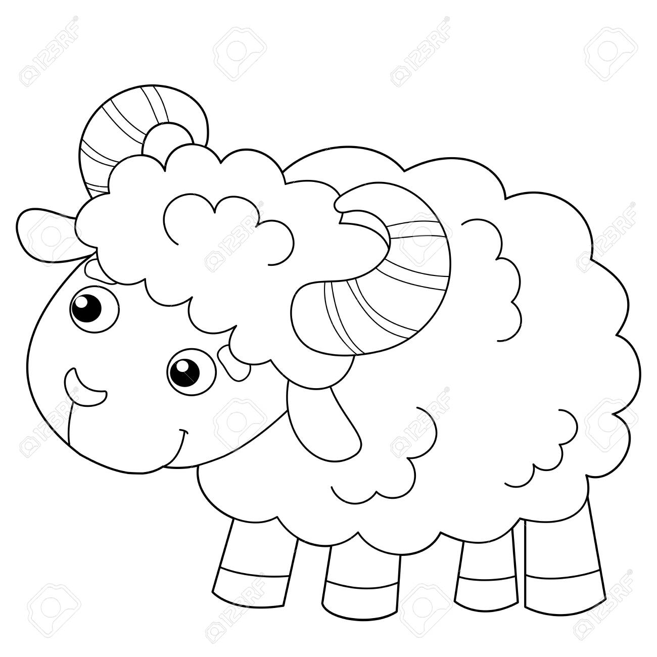 - Coloring Page Outline Of Cartoon Sheep. Farm Animals. Coloring