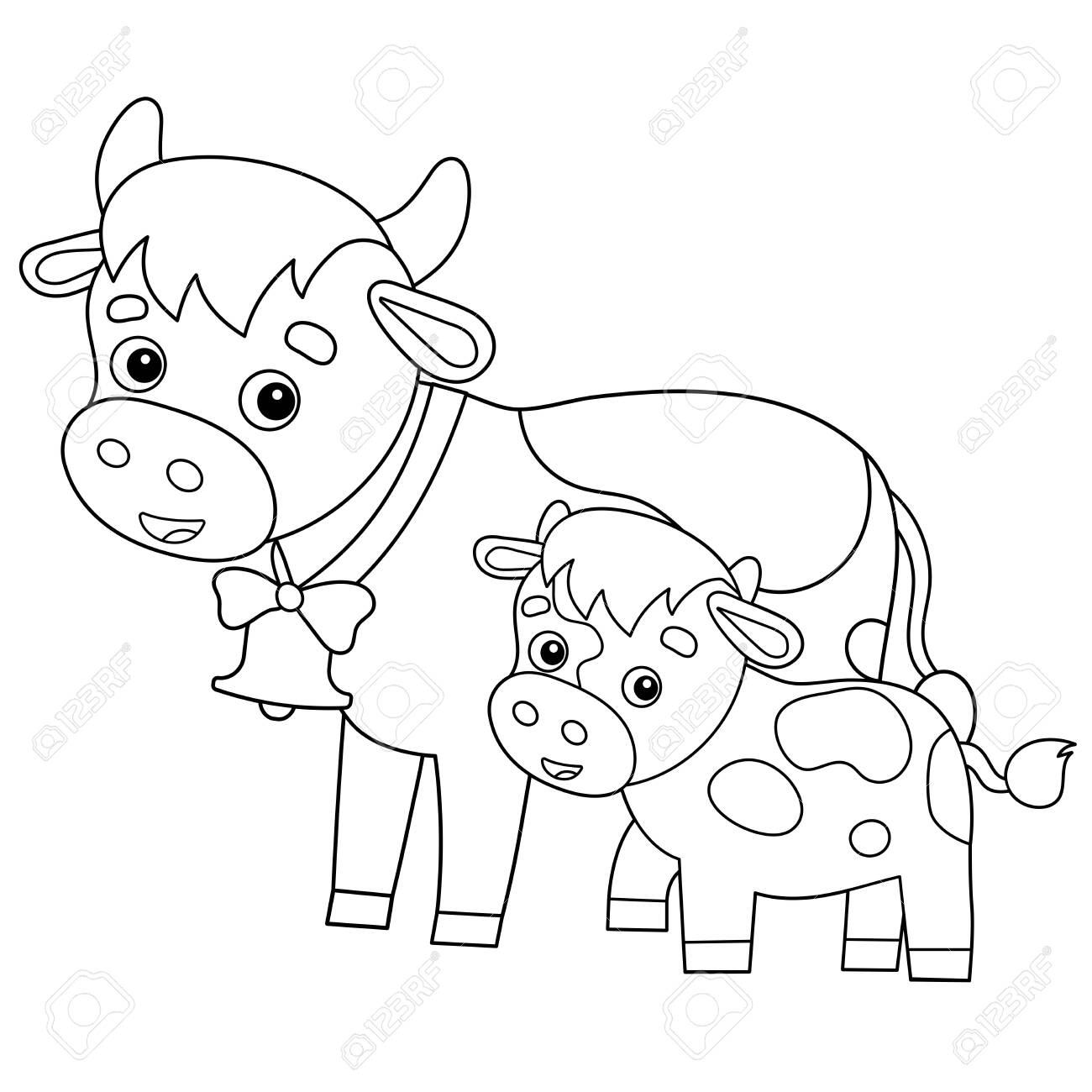 - Coloring Page Outline Of Cartoon Cow With Calf. Farm Animals