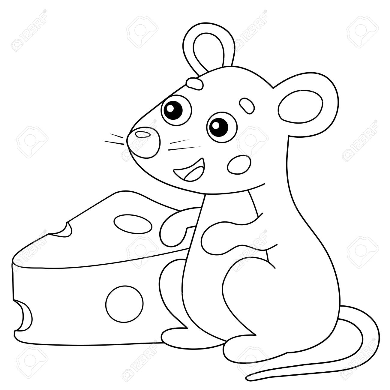 - Coloring Page Outline Of Cartoon Mouse With Cheese. Animals