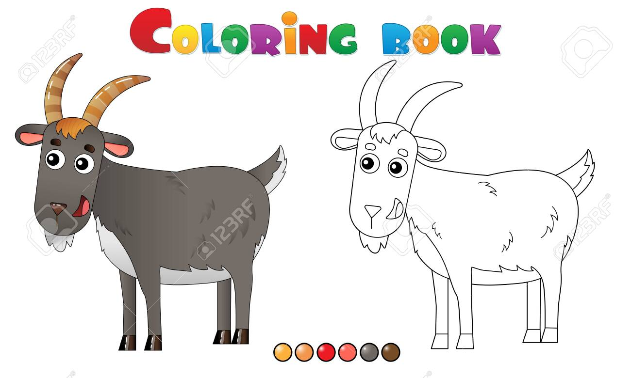 - Coloring Page Outline Of Cartoon Goat. Farm Animals. Coloring