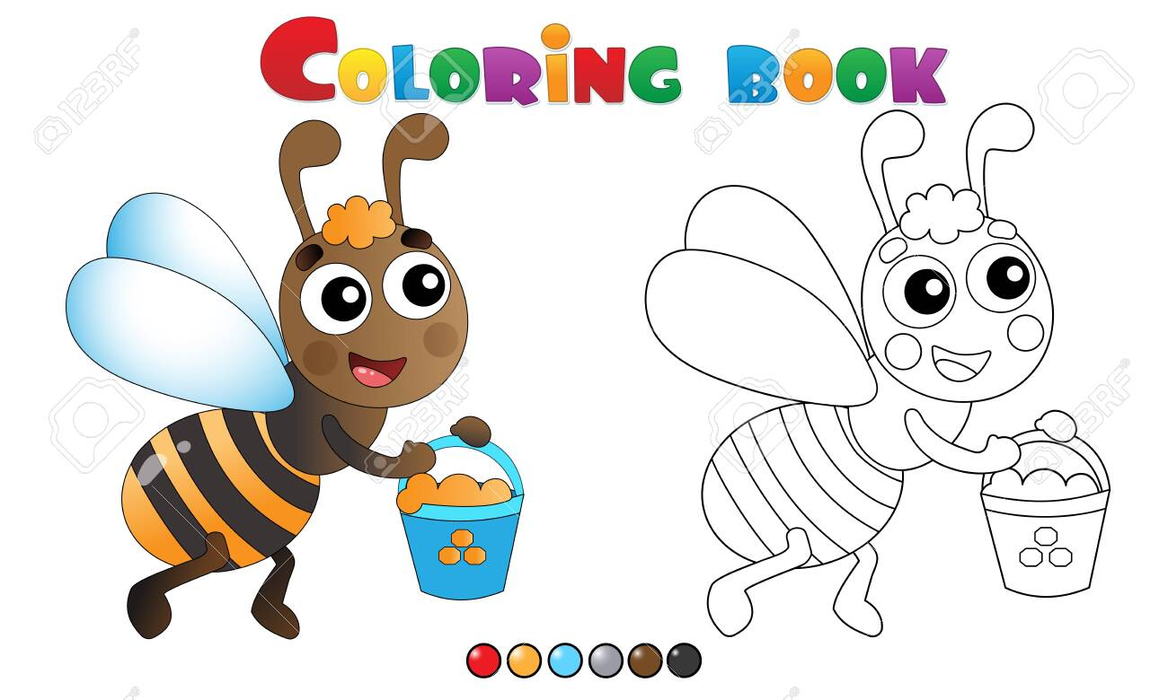 - Coloring Page Outline Of Cartoon Bee With Honey. Coloring Book