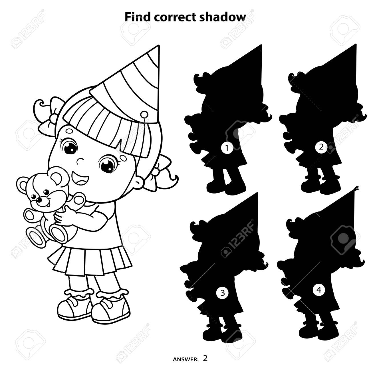 Puzzle Game For Kids Find Correct Shadow Coloring Page Outline Royalty Free Cliparts Vectors And Stock Illustration Image 144137418