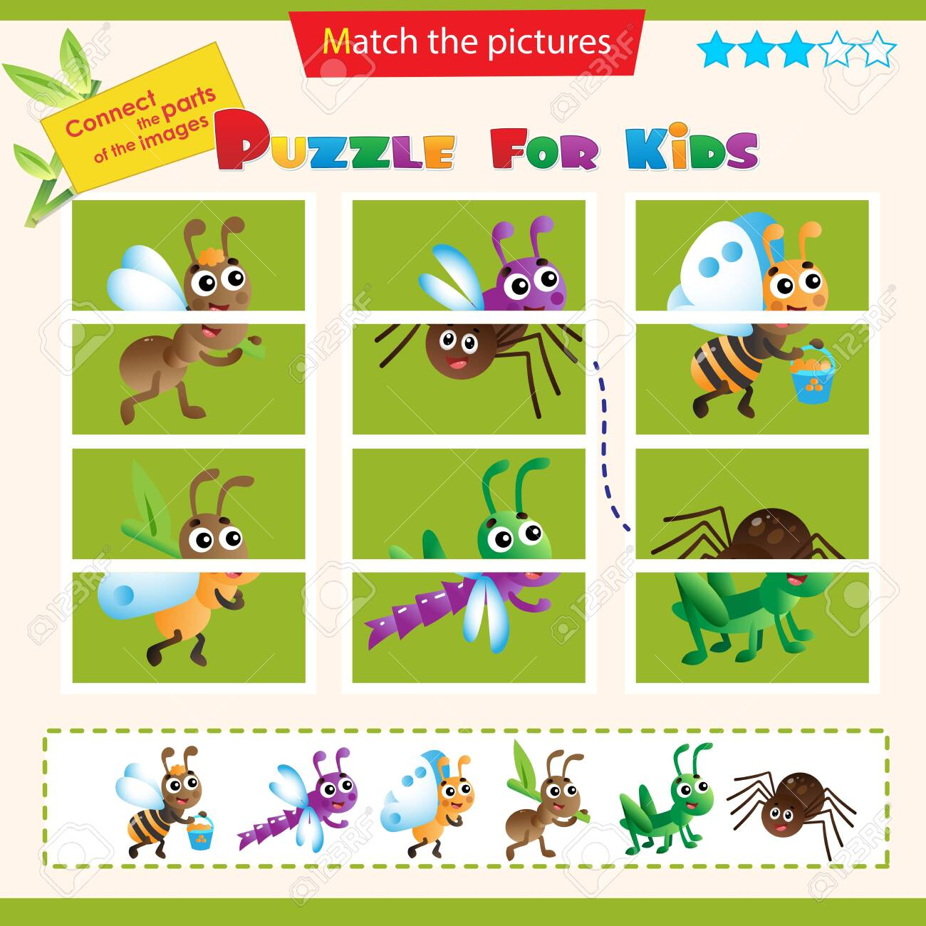 Matching game for children. Puzzle for kids. Match the right parts of the images. Insects. Ant, grasshopper, bee, dragonfly, spider, butterfly. - 145086058