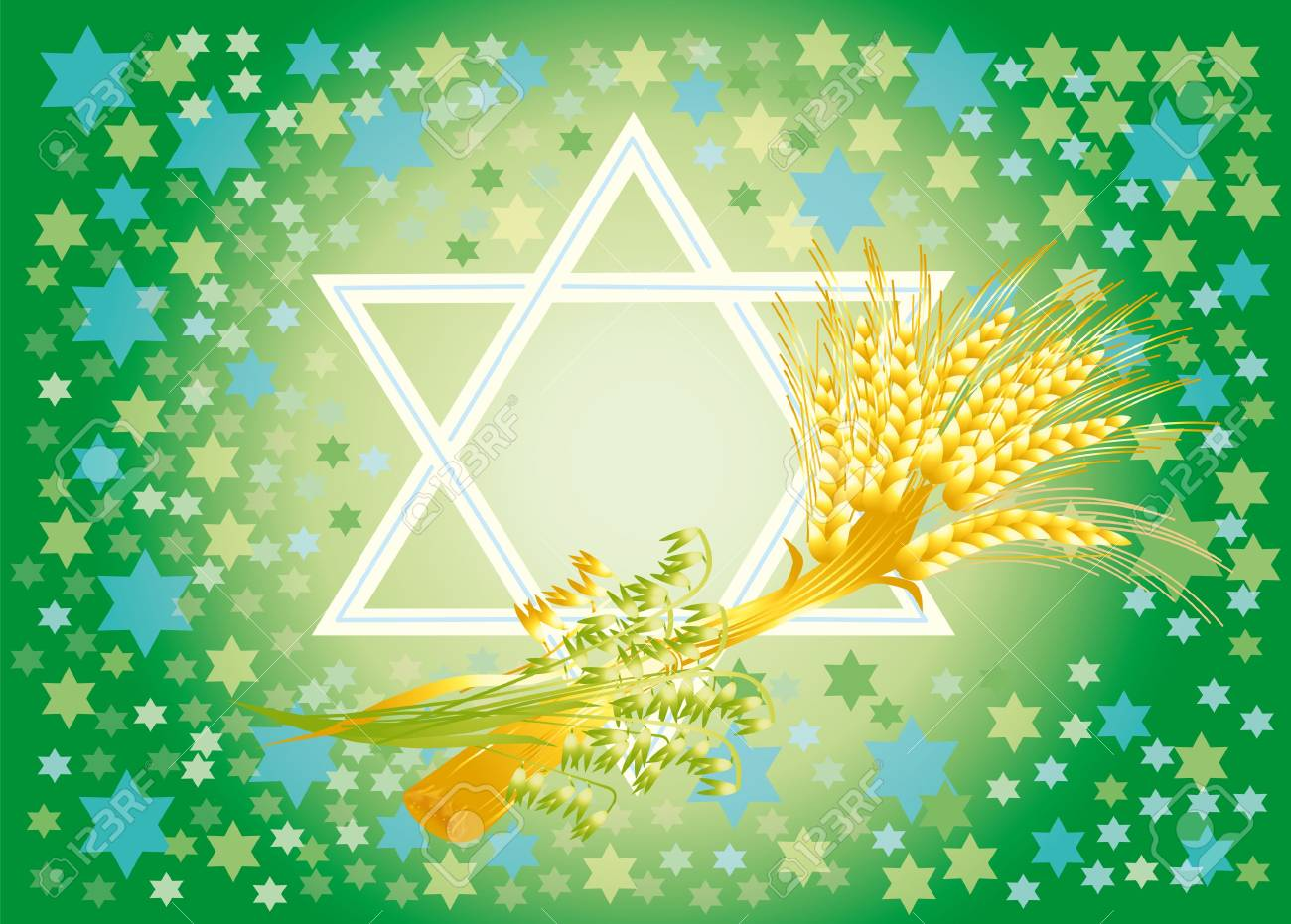 Shavuot marks the offensive of new season of year, completion of next agricultural cycle.  In antiquity in this day in Temple did the second bringing of wheat of new harvest. Stock Photo - 8208273