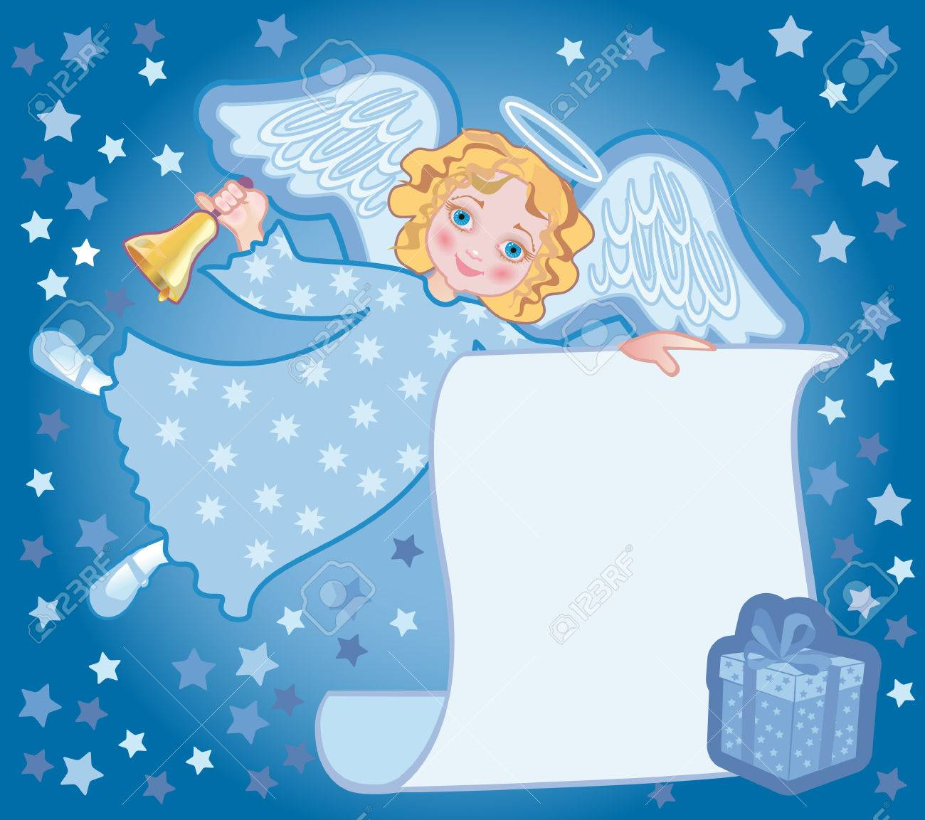 Background for congratulating on Christmas with an angel and gift Stock Vector - 8403253