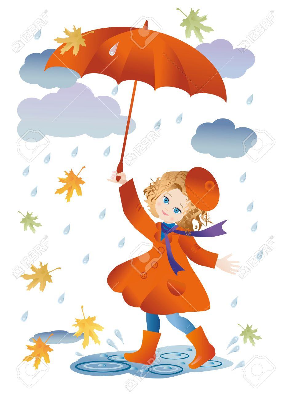 bottes de pluie Une jeune fille avec un parapluie rouge va pour une promenade sous