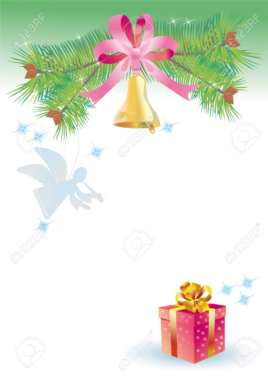 Background for congratulating on a paper angel and bluebell to Christmas Stock Photo - 8595226