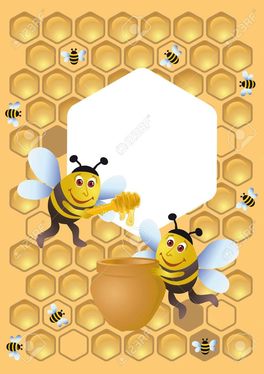 a group of bee and the honey pot stock photo picture and royalty