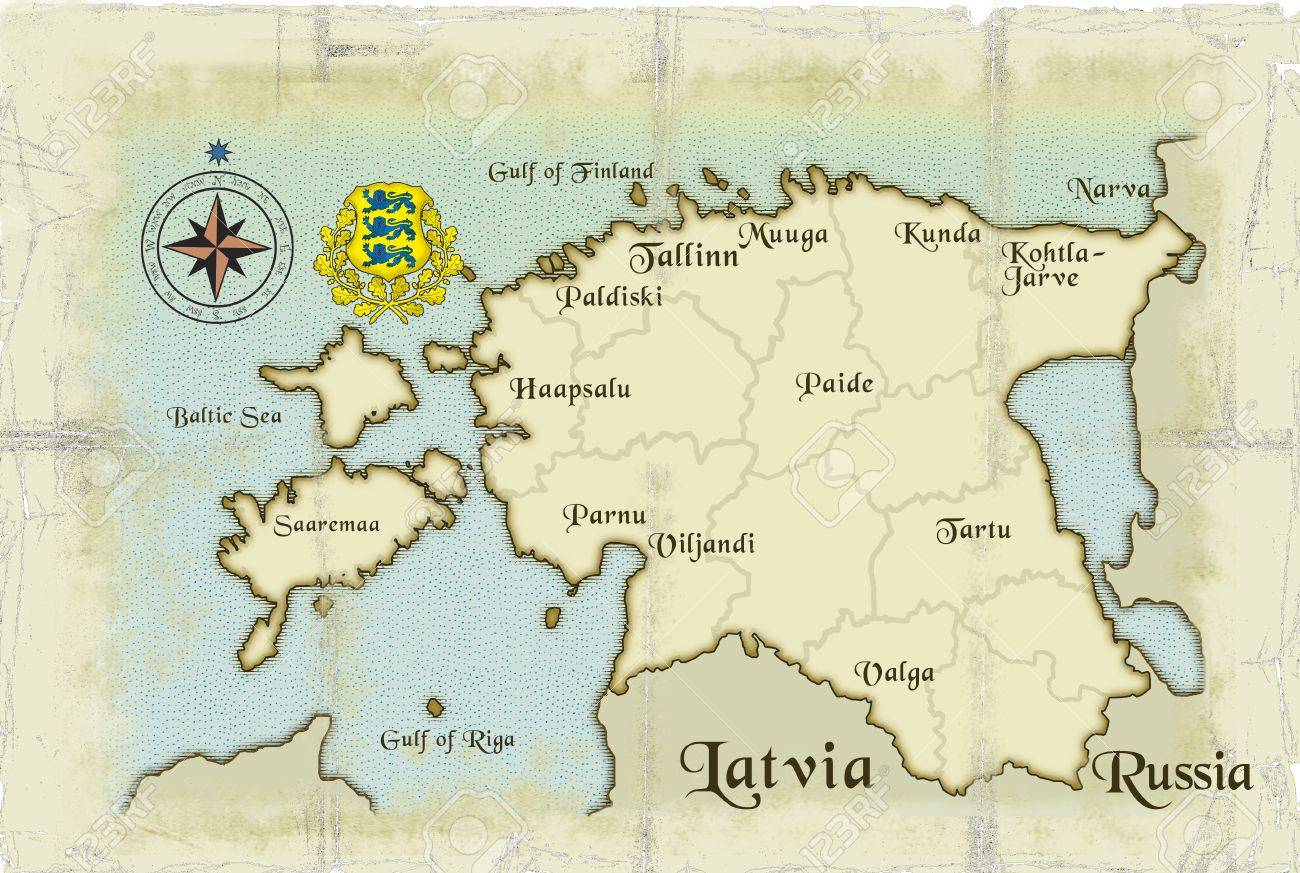 Modern Ageold Map Of Estonia Stock Photo Picture And Royalty Free - Old riga map