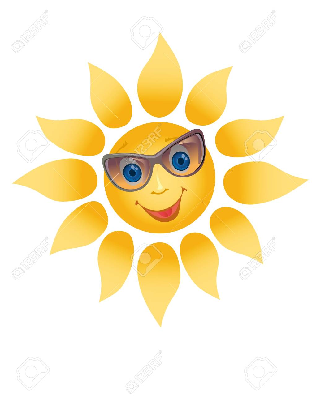 Picture of a happily smiling sun on a white background (contain the Clipping Path of all objects) Stock Photo - 11738034