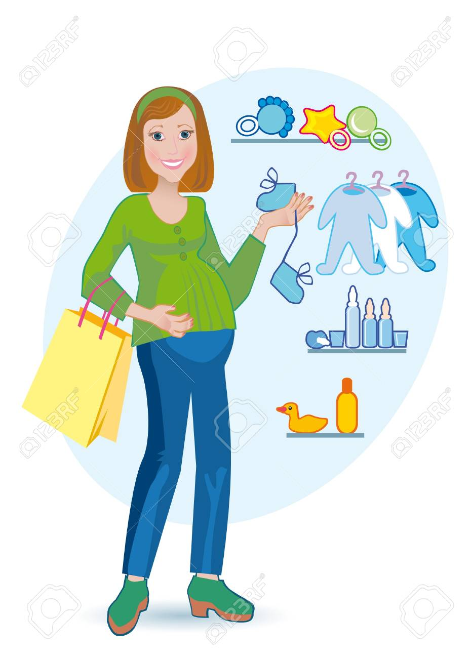 The pregnant goes out from child's shop Stock Photo - 12686168