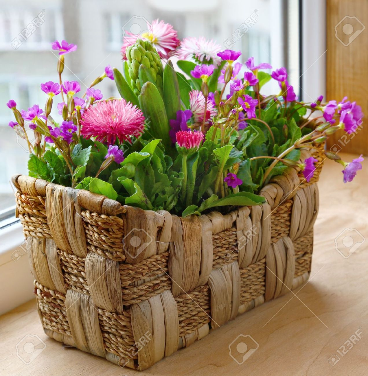 Spring Flowers In A Small Basket On A Balcony Stock Photo Picture