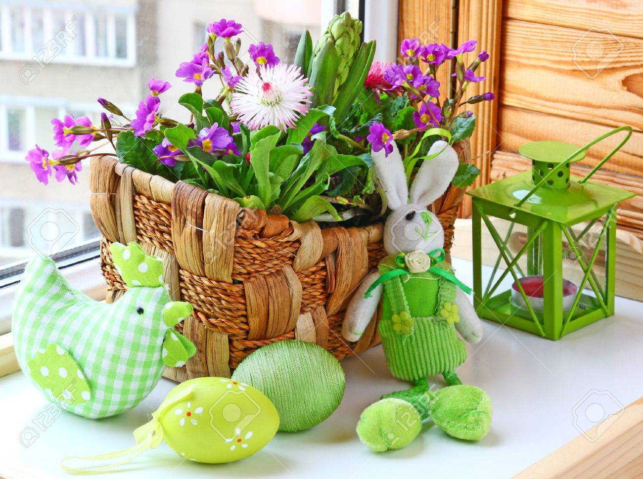 Easter decorating of window by a rabbit and spring flowers stock easter decorating of window by a rabbit and spring flowers stock photo 14069344 mightylinksfo