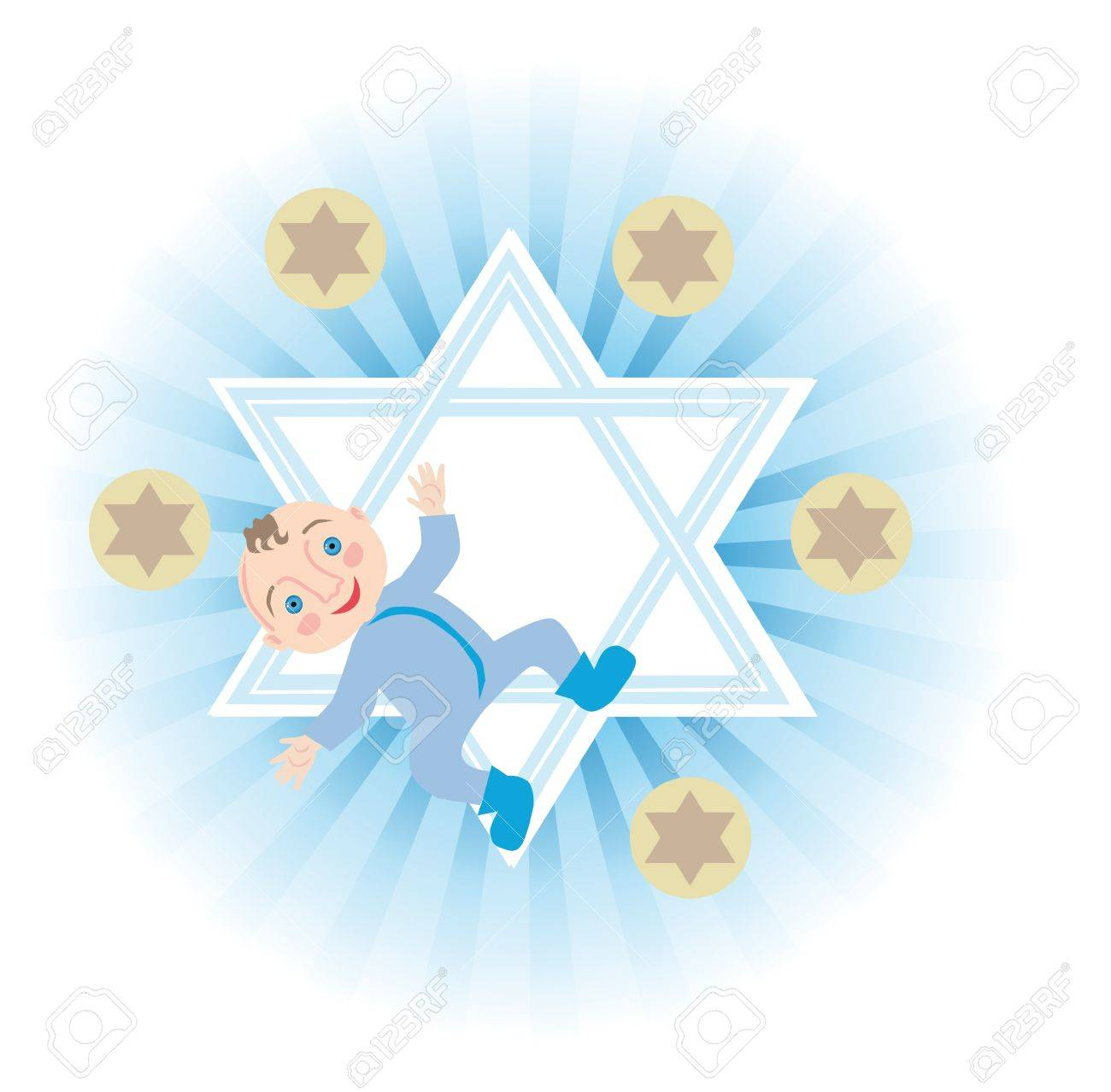 Religious Jews have the custom of redeeming the firstborn boys, five silver coins Stock Vector - 14454894