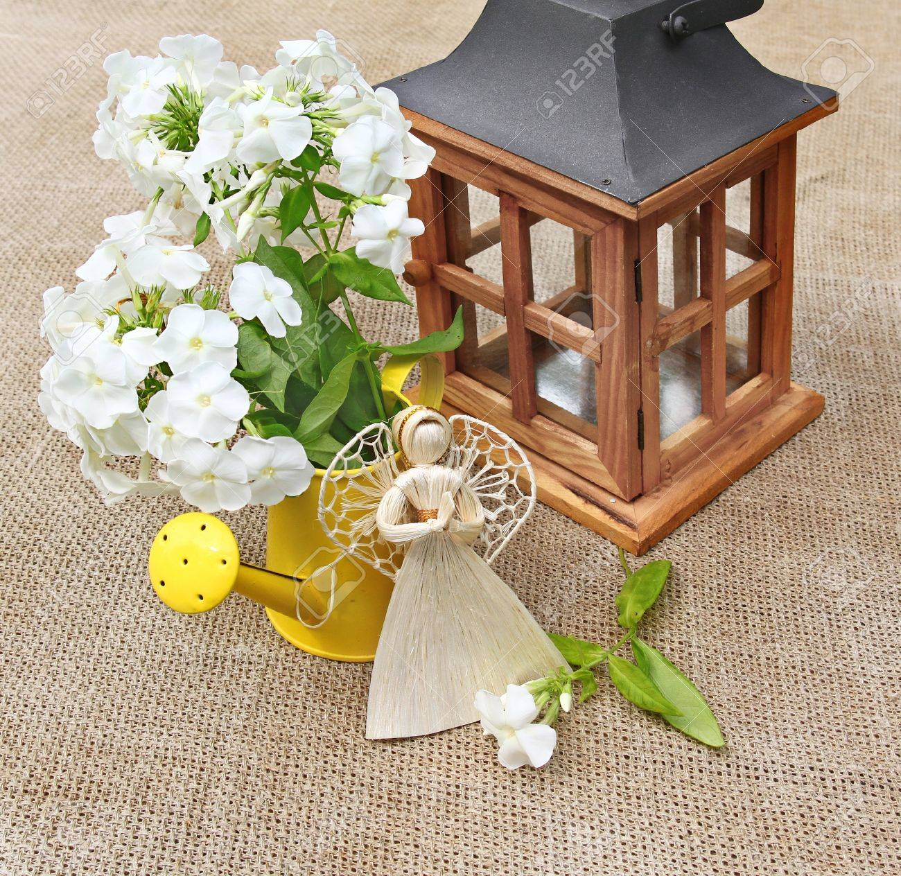 Composition From The Bouquet Of White Phloxes, Wooden Lantern ... for Straw Lantern  193tgx