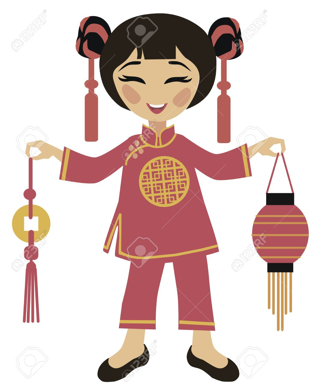 chinese new year girl holding chinese lantern to celebrate stock vector 29462670