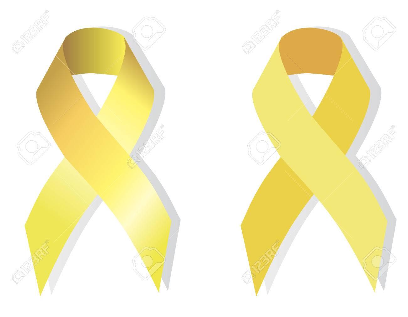 Yellow (gold) Ribbon Symbolizing The Problems Of Suicide, Bone Tumor ...