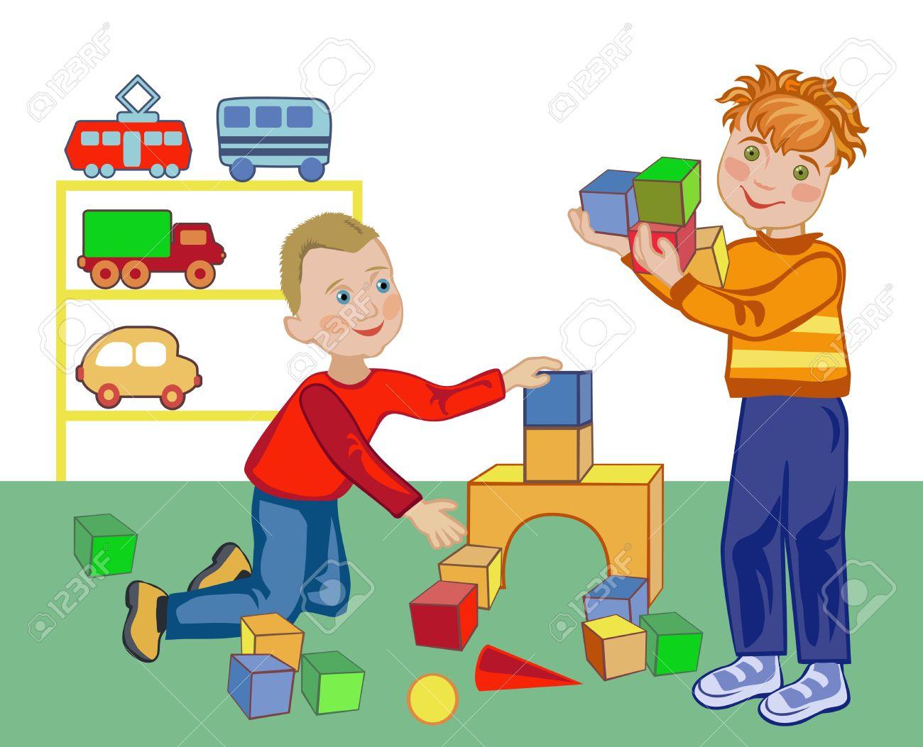 Haus bauen clipart  Zwei Kleine Jungen Bauen Ein Haus Aus Der Blöcke Im Kindergarten ...