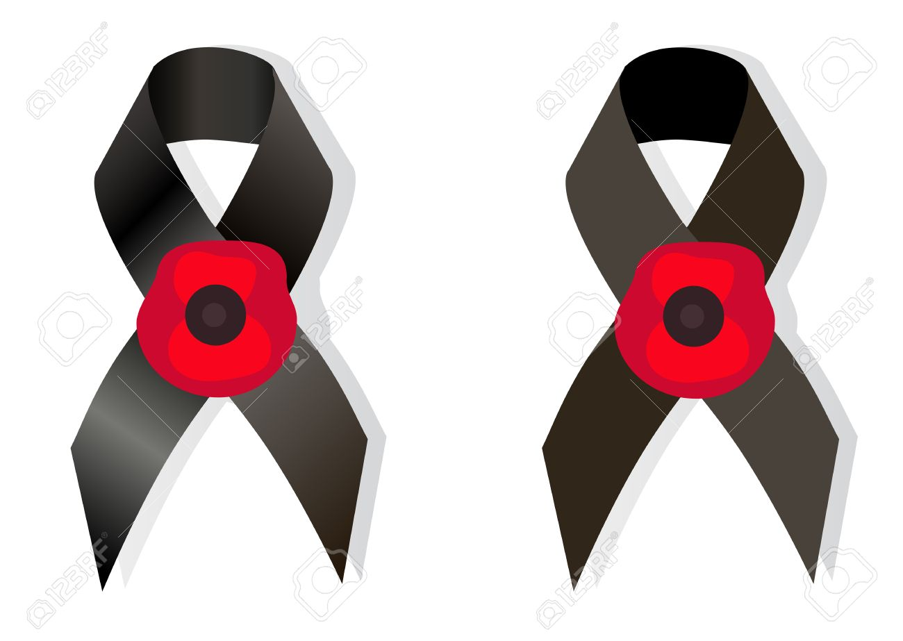 black awareness ribbon and the flower poppy a symbol remembrance