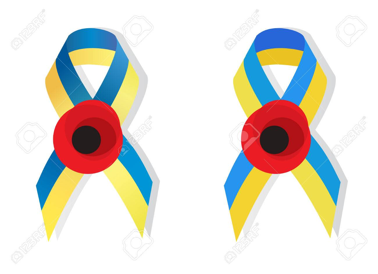 Yellow blue ribbon colors of the national flag of ukraine and world war 2 awarenes yellow blue ribbon colors of the national flag of ukraine and poppy flower symbol of the buycottarizona Gallery