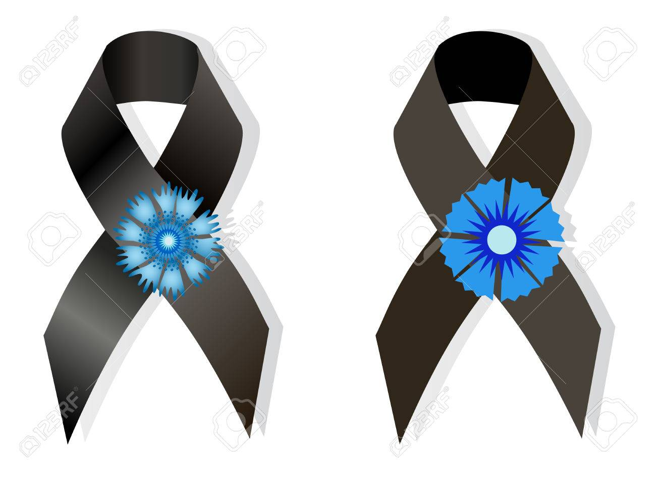 Black awareness ribbon and the flower cornflower a symbol of memory black awareness ribbon and the flower cornflower a symbol of memory of victims of the french biocorpaavc Images