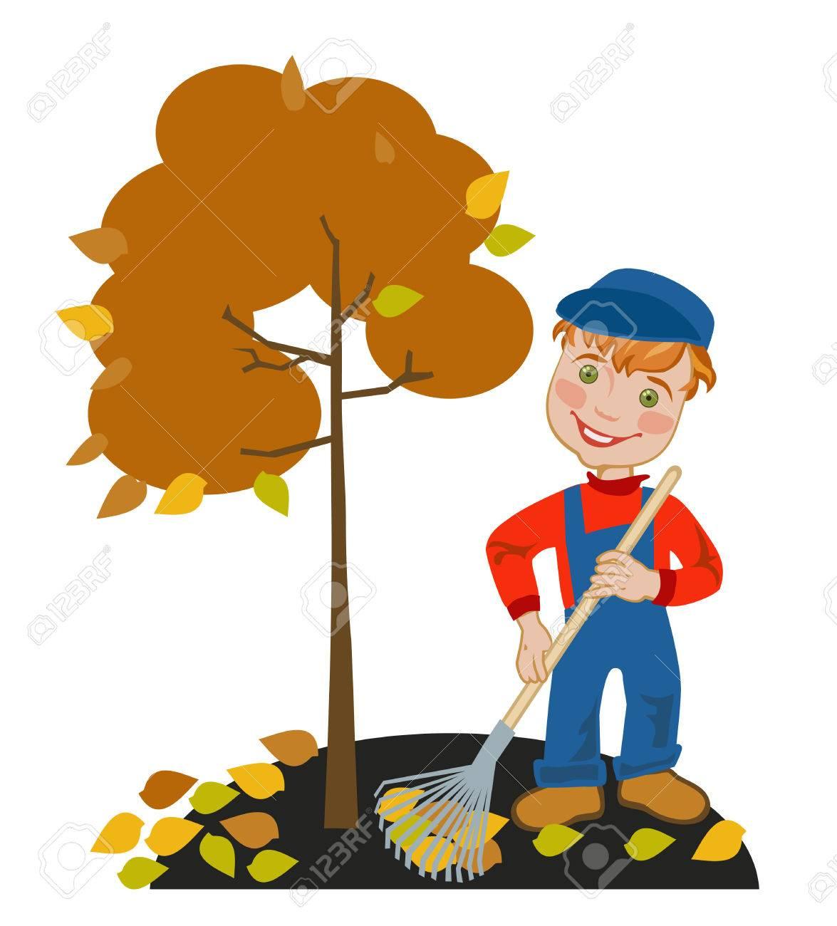Happy Little Boy Gardener Raking Leaves In The Garden Royalty Free