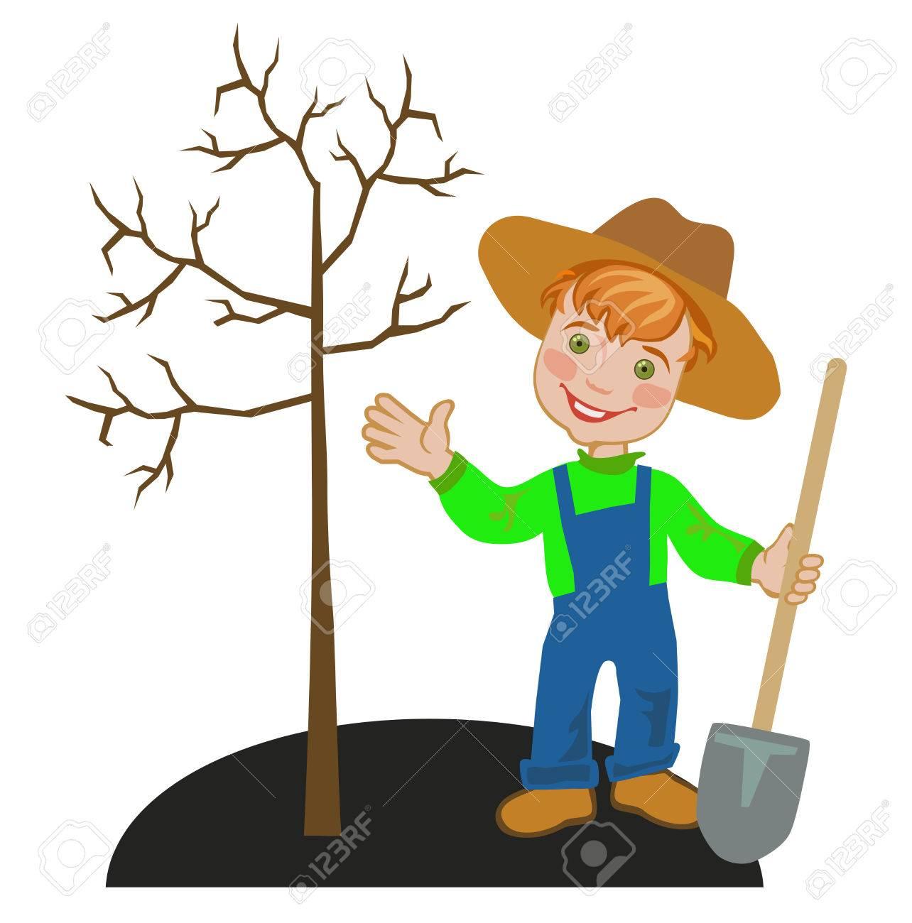 joyful boy gardener works in a garden in autumn seasonal work joyful boy gardener works in a garden in autumn seasonal work in the garden stock