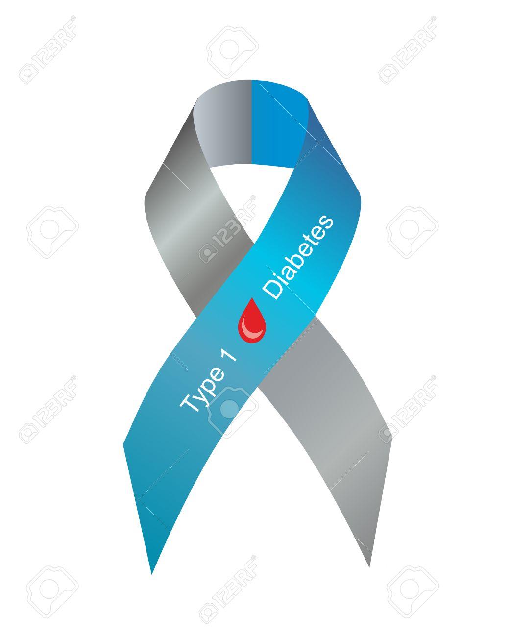 imágenes de cinta de conciencia de diabetes tipo 1