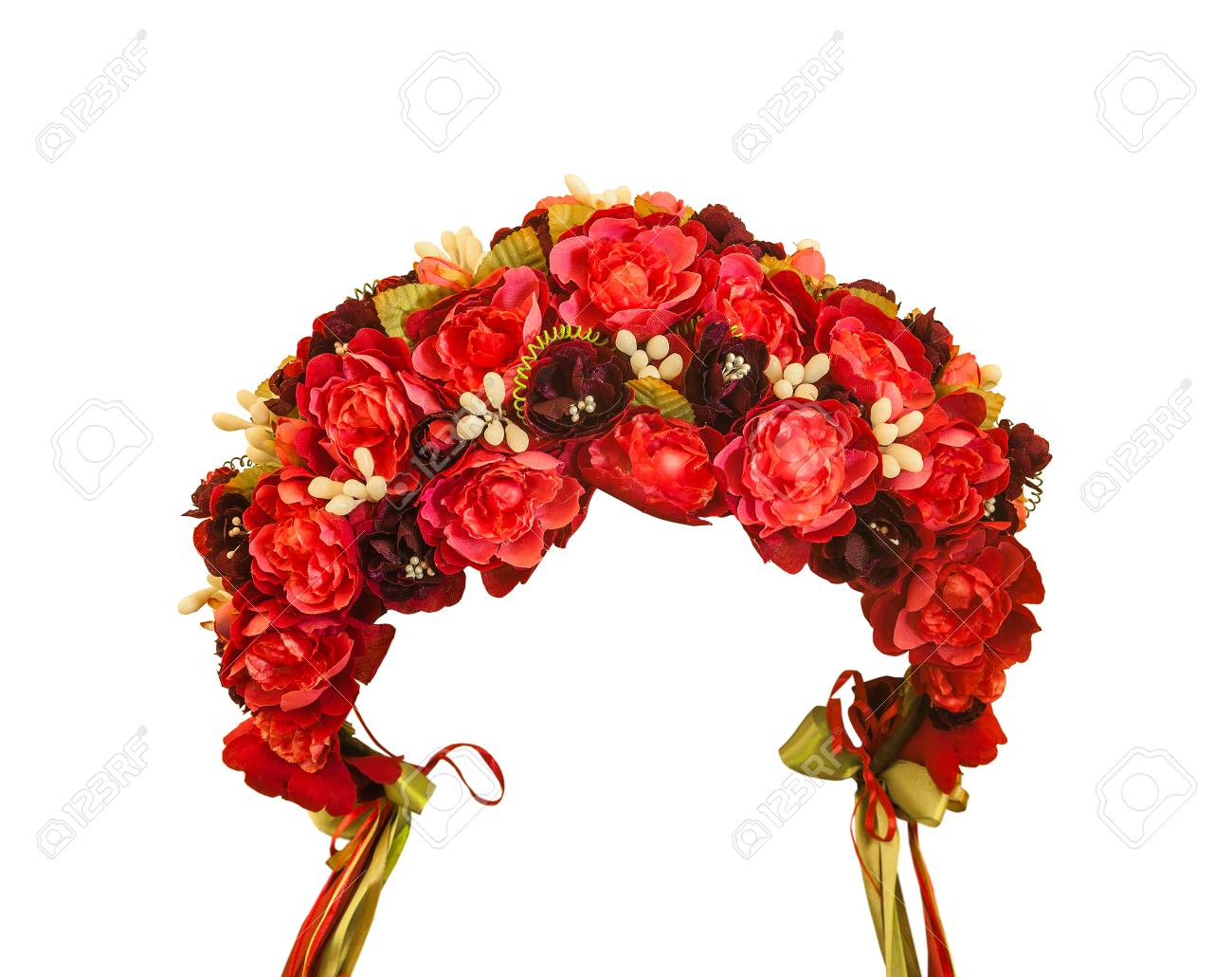 Ukrainian Wreath Of Red And White Flowers With Ribbons On White