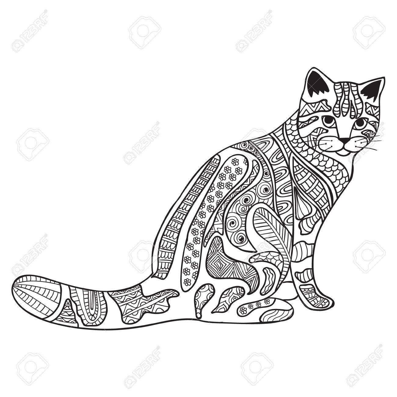 Cat Anti Stress Coloring Book For Adults Black And White Hand Drawn Vector