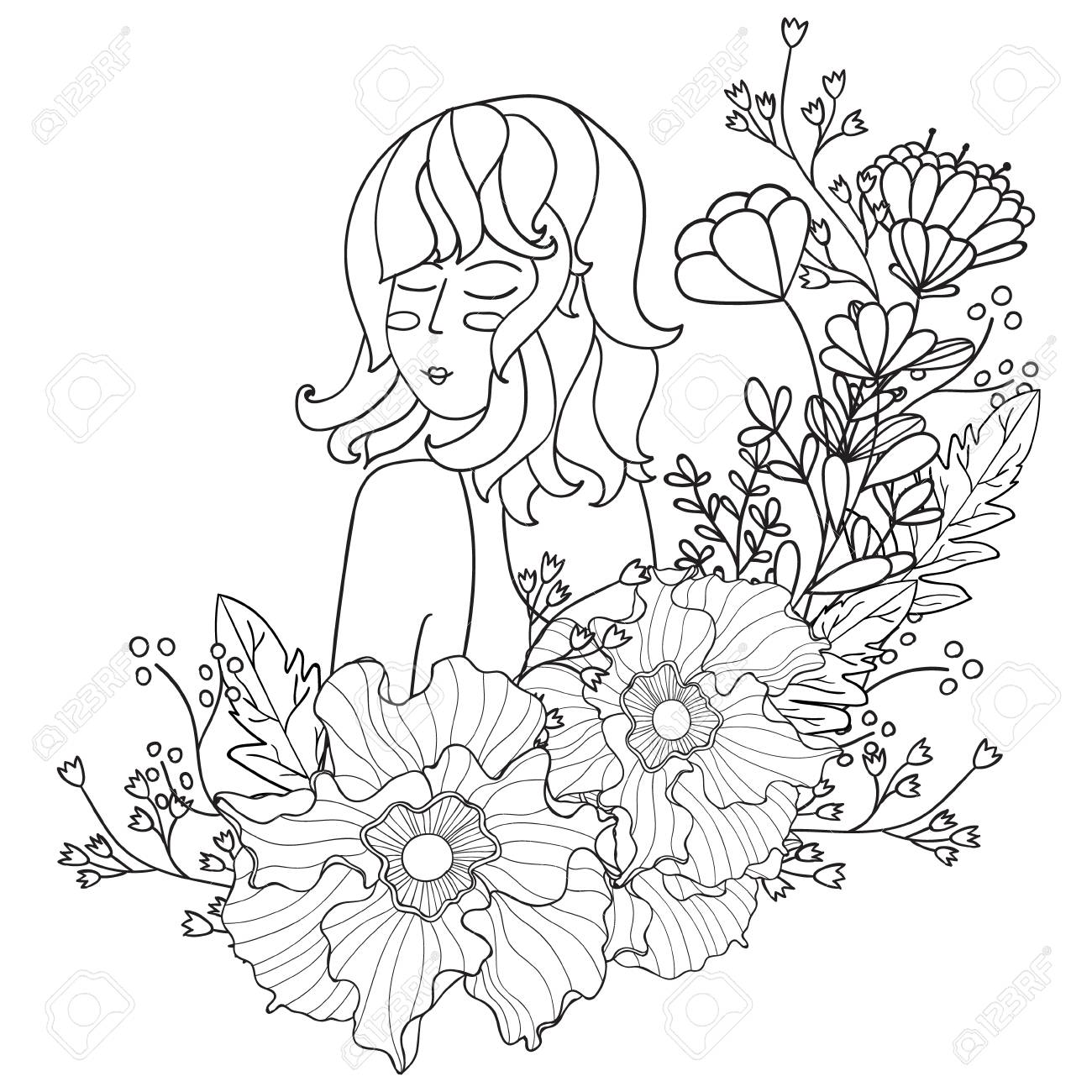 Vector Illustration Black And White Woman With Flowers Coloring