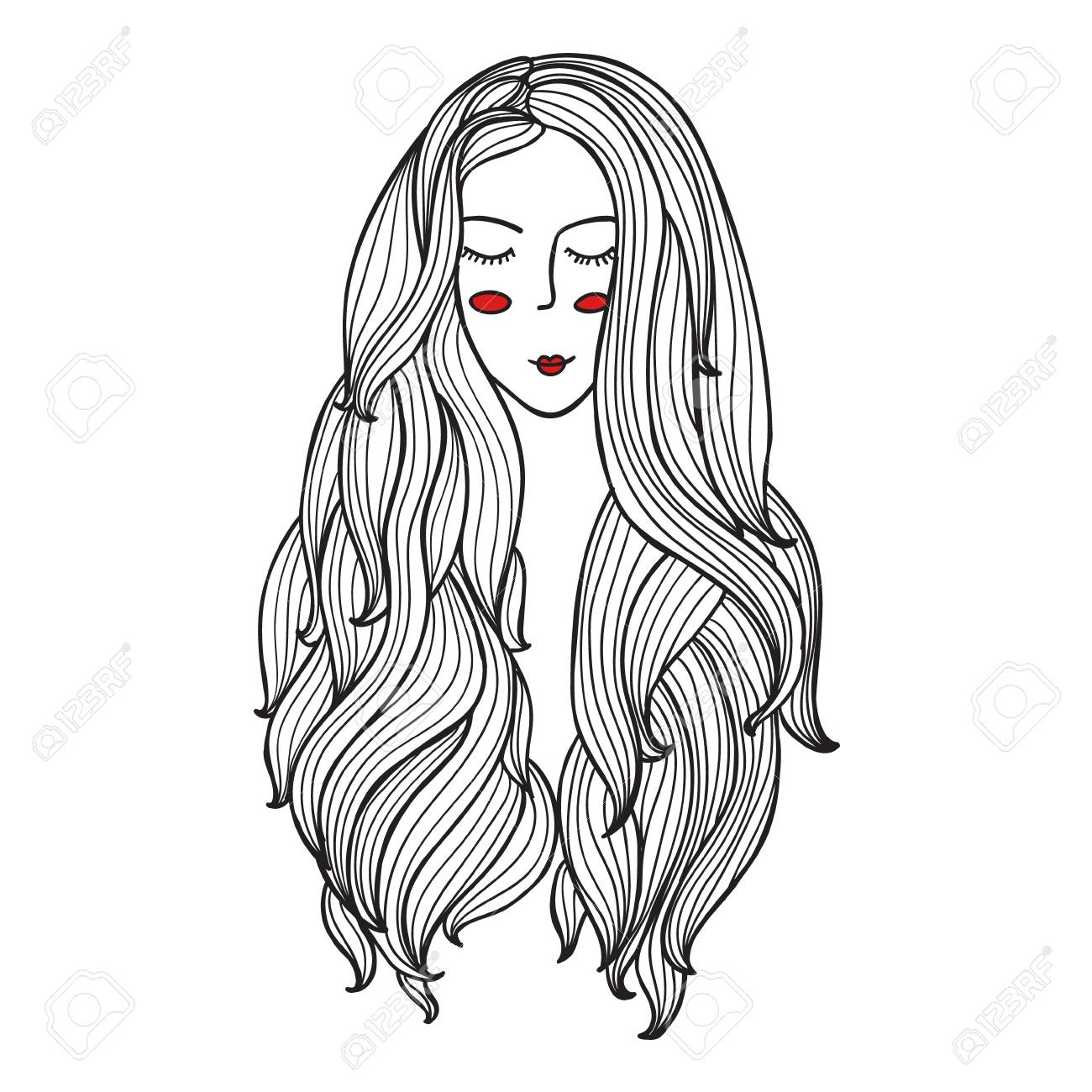 Vector Illustration Blanco Y Negro Mujer Con Flores Hair.coloring ...