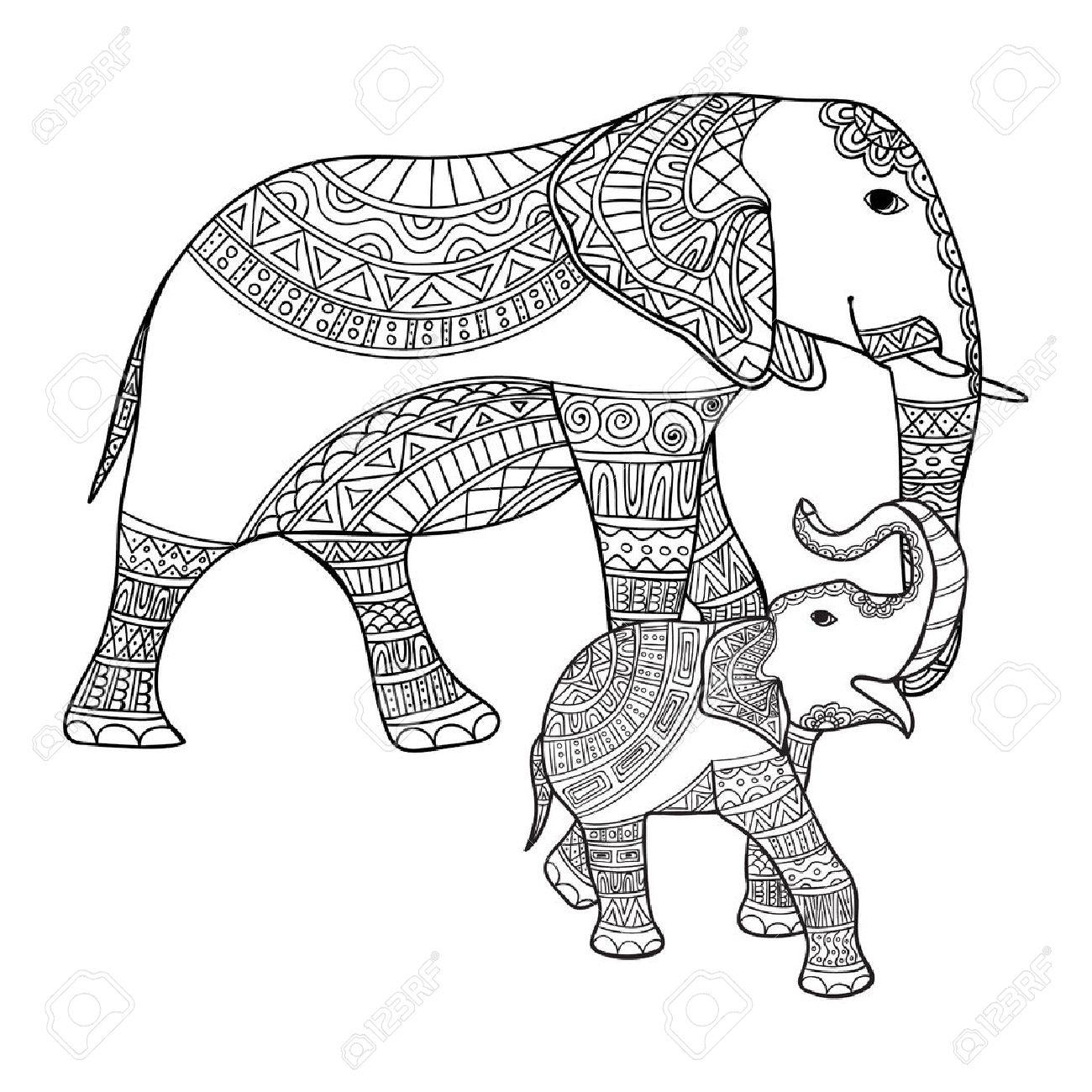 Grand Et Petit Elephant Anti Stress Livre De Coloriage Pour Les Adultes Main Noir Et Blanc Dessine Vecteur Griffonner Imprimer Avec Des Motifs Ethniques Style Enchevetrement Zen Pour Le Tatouage Conception De Chemise