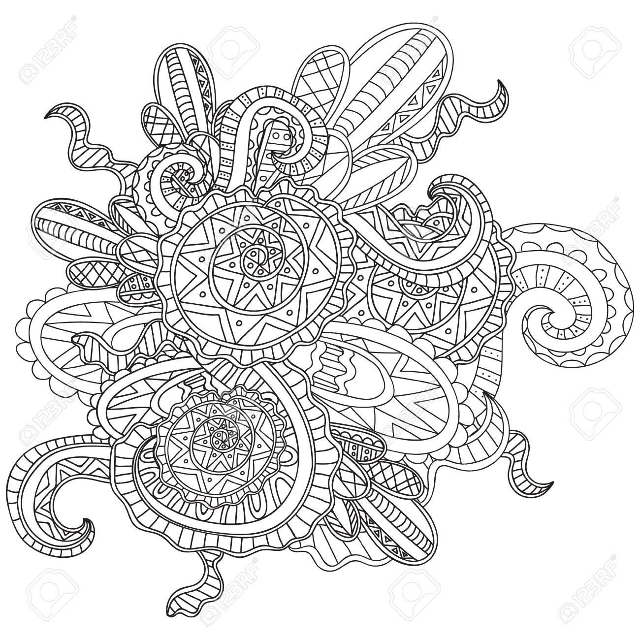 Coloriages Pour Adultes Livre De Coloriage Dessines A La Main Doodle Nature Curl Ornementale Vecteur Modele Fragmentaire Clip Art Libres De Droits Vecteurs Et Illustration Image 54695194