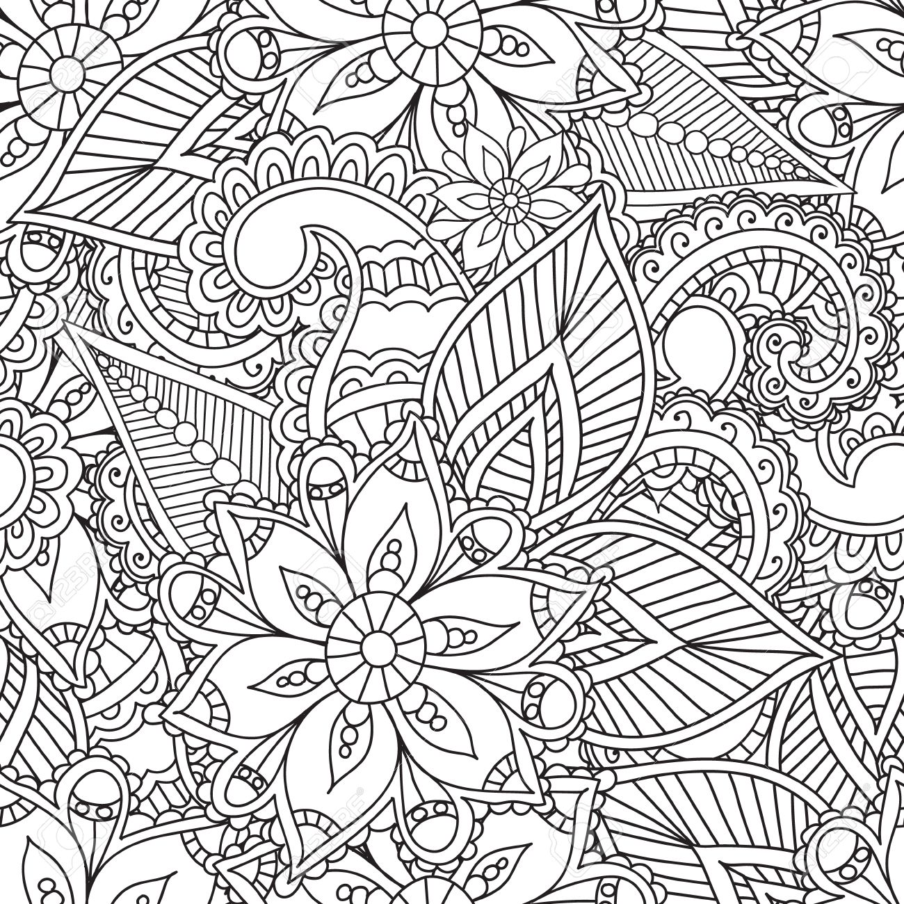coloring pages for adults seamless patternhenna mehndi doodles abstract floral paisley design elements - Mehndi Coloring Pages