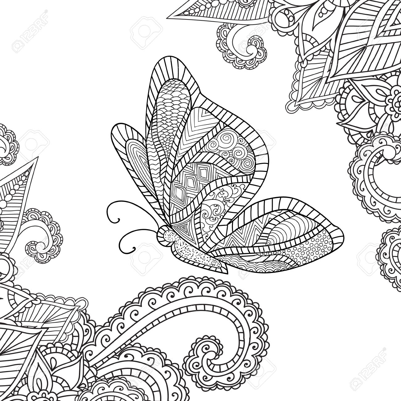 Malvorlagen Für Adults Henna Mehndi Doodles Abstract Floral Paisley