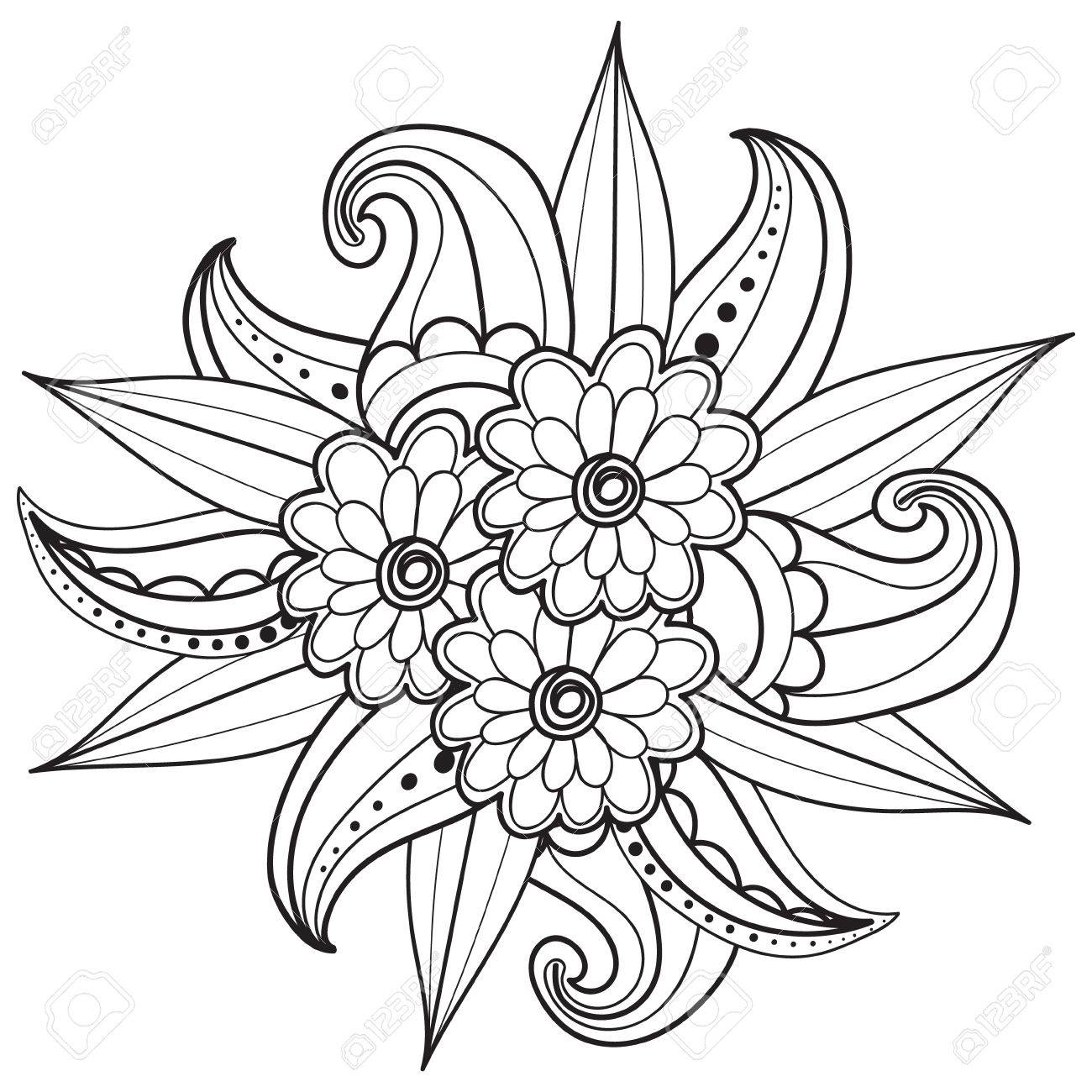 Hand Drawn Artistic Ethnic Ornamental Patterned Floral Frame