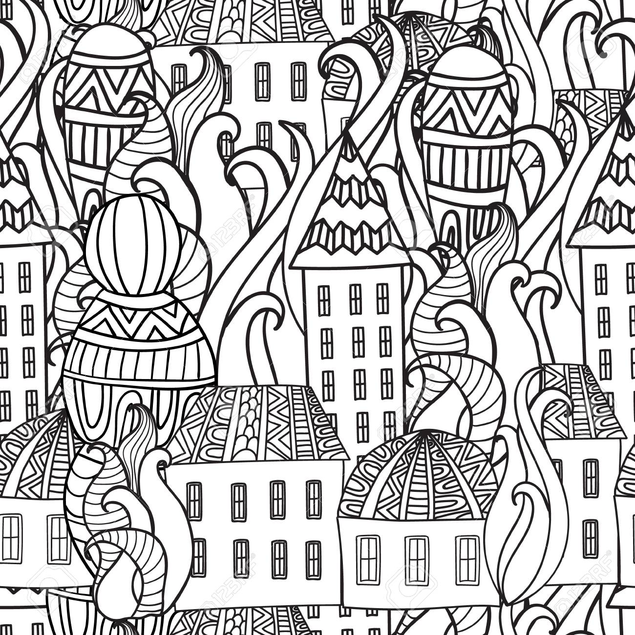 Magic City Street Background Ink Pen Black And White Seamless Pattern In Vector