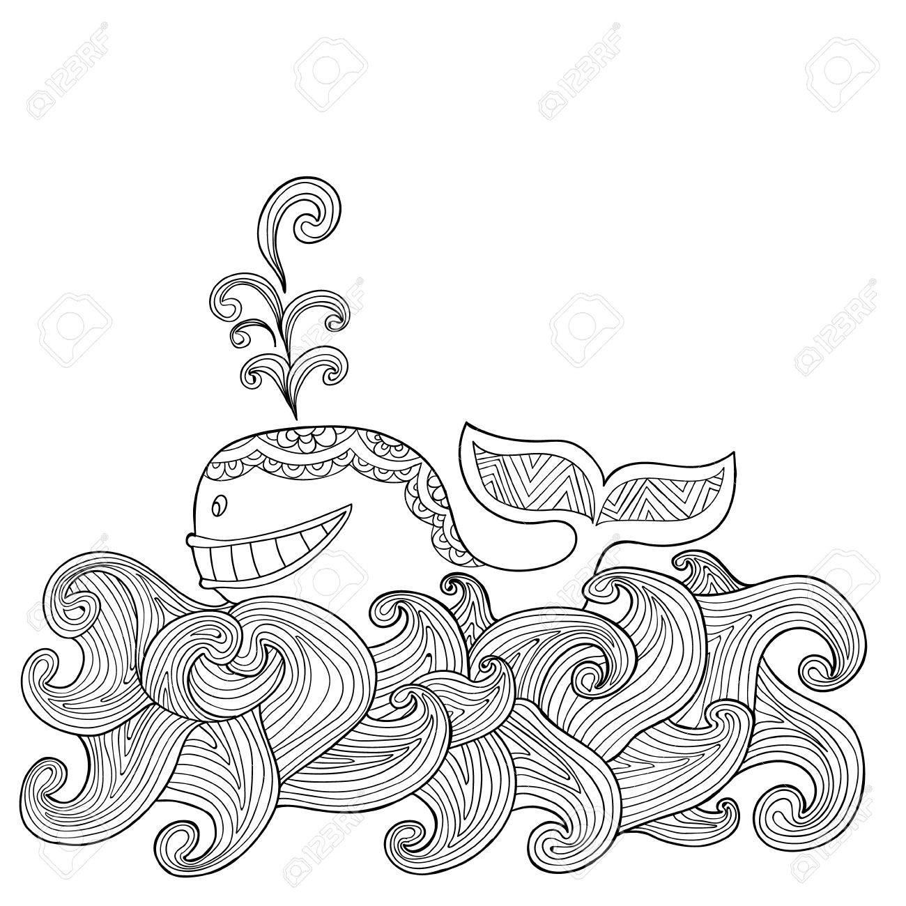 Dibujado A Mano Delfín Zentangle Con Las Olas Del Mar De